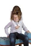 runt om goofing syster för broder Royaltyfria Bilder