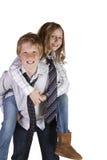 runt om goofing syster för broder Royaltyfri Foto