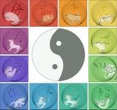runt om kinesisk horoskopyang yin royaltyfri illustrationer