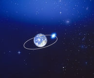 runt om lunar omlopp för jord Royaltyfria Bilder
