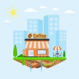 runt om nya bönakaffekoppar shoppa vektor illustrationer
