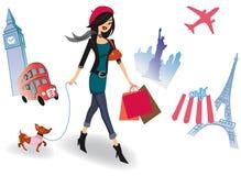 runt om shoppingvärlden Arkivbilder