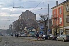 Runt om Sofia huvudstaden av Bulgarien, en höstmorgon royaltyfri bild