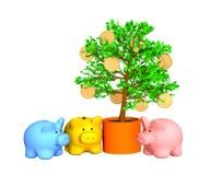 runt om värd för tree för guld för mynt för lagerask Arkivbild
