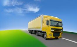 runt om världen för lastbil för logistiktransport Arkivfoto