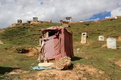 Runt om Yarchenen Gar Yaqen Orgyan Temple i Amdo Tibet, haka Royaltyfri Foto