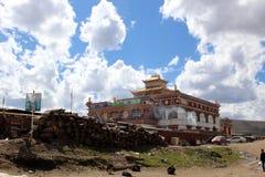 Runt om Yarchenen Gar Yaqen Orgyan Temple i Amdo Tibet, haka Arkivbilder