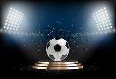 Runt podium med fotbollbollen Fotbollsockel för utmärkelseceremoni Plattform som är upplyst vid strålkastare också vektor för cor royaltyfri illustrationer
