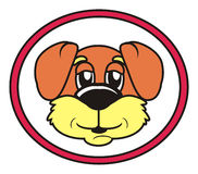 Runt rött gå för teckenhund Arkivbilder