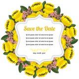 Runt retro kort med gula blommor Royaltyfria Bilder