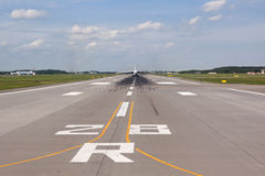Runway. View of the runway with the plane away royalty free stock image