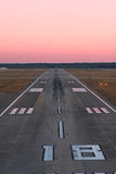 Runway from the air. Final approach aerial view of runway at dusk