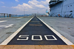 Runway on an Aircraft Carrier. Perspective of a runway on an aircraft carrier stock photography