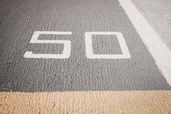 Runway on an Aircraft Carrier with designation marking Royalty Free Stock Photos
