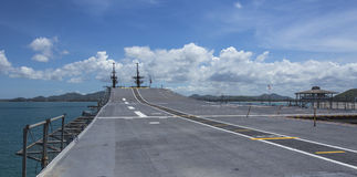 Runway on an Aircraft Carrier Stock Images