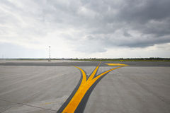 Runway. Airfield - marking on taxiway is heading to runway stock photography