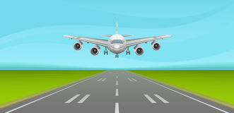 Runway. Airplane landing on the runway Stock Photo