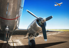 Runway. Airplane on a runway ready for takeoff Stock Photography