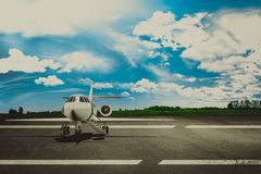Runway airport and airliner. Concept Royalty Free Stock Image