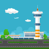 Runway at the Airport with Control Tower Royalty Free Stock Images