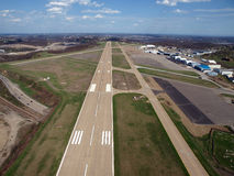 Runway Below. Runway approach at a small rural Ohio airport Royalty Free Stock Photos