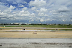 Runway of Donmuang Airport. Clear sky Royalty Free Stock Image