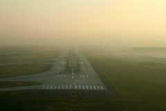 Runway in the fog Royalty Free Stock Photos