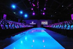 Runway and guest seats at Audi Fashion Festival 2011 Erdem Show Royalty Free Stock Images
