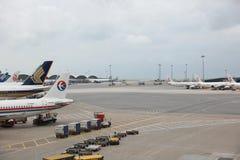 Runway of Hong Kong International Airport site. Passenger aircraft on the runway of Hong Kong International Airport site stock photography
