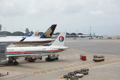 runway of Hong Kong International Airport site. stock image