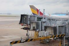 Runway of Hong Kong International Airport site. Passenger aircraft on the runway of Hong Kong International Airport site stock photo