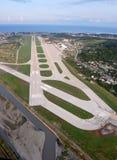 The runway of the international airport of Sochi stock photo