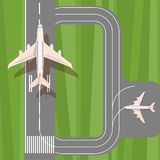 Runway with jet aircraft top view. Takeoff and landing airplanes set. Royalty Free Stock Image