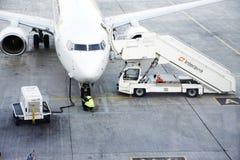 Runway of Kiev Boryspil International Airport at Kiev, Ukraine stock images