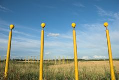 Runway Lights. Aircraft landing lights near a commercial airport runway Royalty Free Stock Images