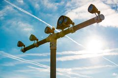 Runway lights at the airport in sunlight Royalty Free Stock Photos