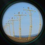 Runway lights in objective lens stock photos