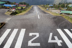 Runway at Lukla airport Royalty Free Stock Photo