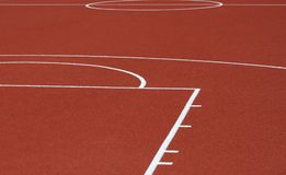 Runway mark on an athletics track royalty free stock photo