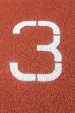 Runway mark on an athletics track stock photo