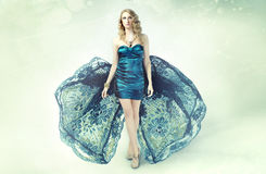 Runway model. A tall runway model on stage in a fabulous gown stock photos