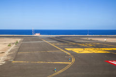 Runway with ocean Stock Photo