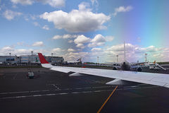 Runway from the plane Royalty Free Stock Photography