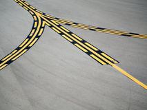 Runway's Yellow Black Guide Line Stock Image