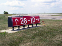 Runway Sign. Directs aircraft on ground stock photos