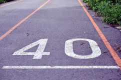 Runway for sprint sport number 40 Royalty Free Stock Image