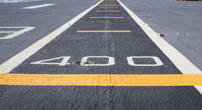 Runway at takeoff on battleship Royalty Free Stock Images