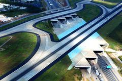 Runway Tunnels. Atlanta& x27;s Hartsfield Jackson Atlanta International Airport& x27;s landing strips over a busy expressway Royalty Free Stock Photo
