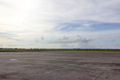 Runway. View runway with blue sky cloud background royalty free stock photos