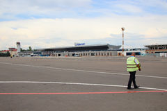 Runway and work security guard Chisinau airport. Royalty Free Stock Photos